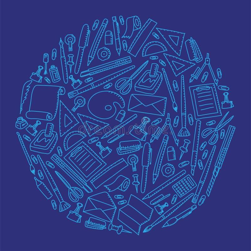 Ilustração ajustada da forma do círculo do fundo do teste padrão do desenho estacionário da mão das crianças ilustração royalty free