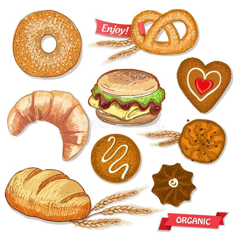 Ilustração ajustada da pastelaria sortido com cookies, pão, bagel, croissant, pretzel e hamburguer ilustração do vetor