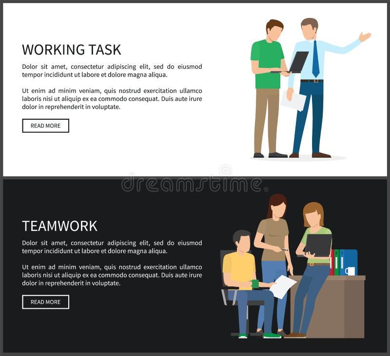 Ilustração ajustada da tarefa de funcionamento e do vetor dos trabalhos de equipa ilustração royalty free