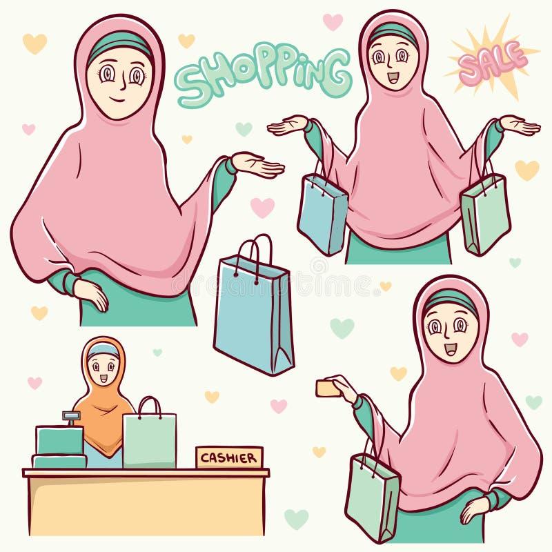 Ilustração ajustada de compra das meninas muçulmanas ilustração stock