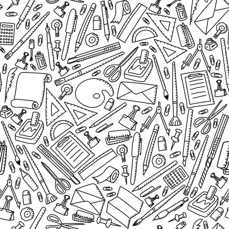 Ilustração ajustada do desenho estacionário sem emenda da mão das crianças do fundo do teste padrão ilustração do vetor