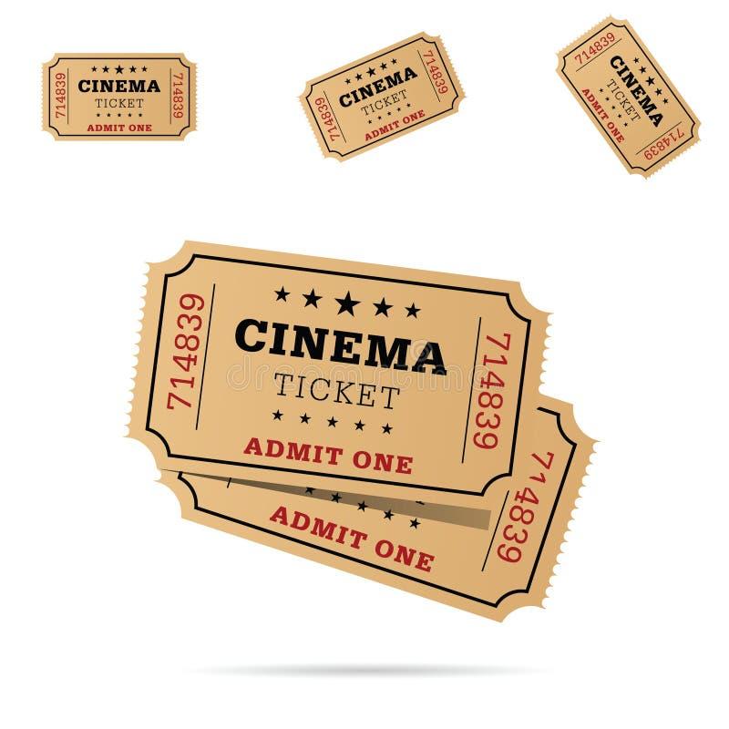 Ilustração ajustada do entretenimento do filme do bilhete do cinema ilustração stock