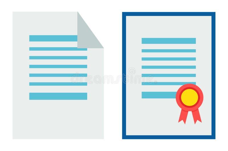 Ilustração ajustada do vetor do certificado e do papel ilustração stock