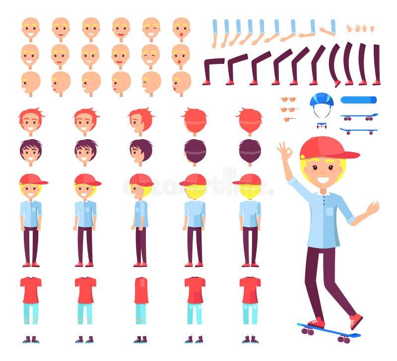Ilustração ajustada do vetor do construtor do menino do skater ilustração stock