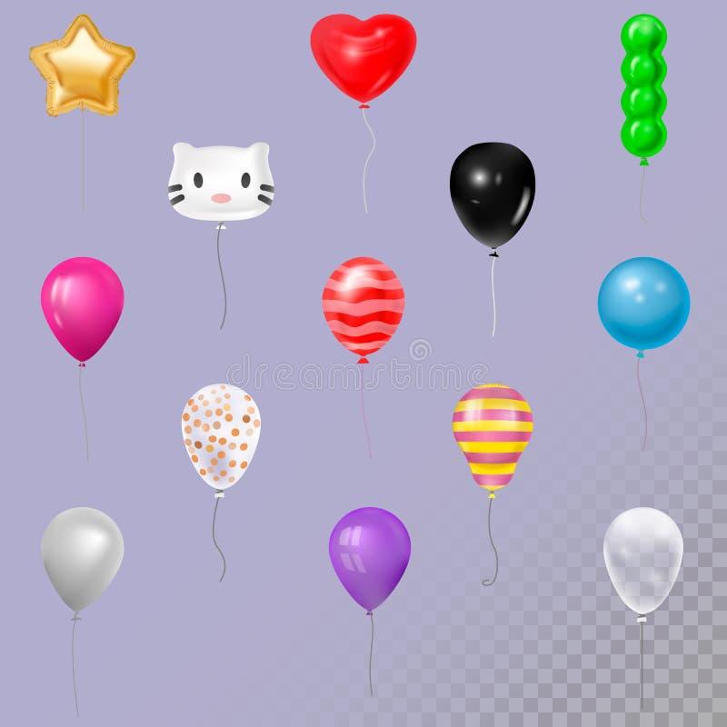 Ilustração ajustada do vetor da coleção dos balões da forma diferente e do feliz aniversario da cor ilustração stock