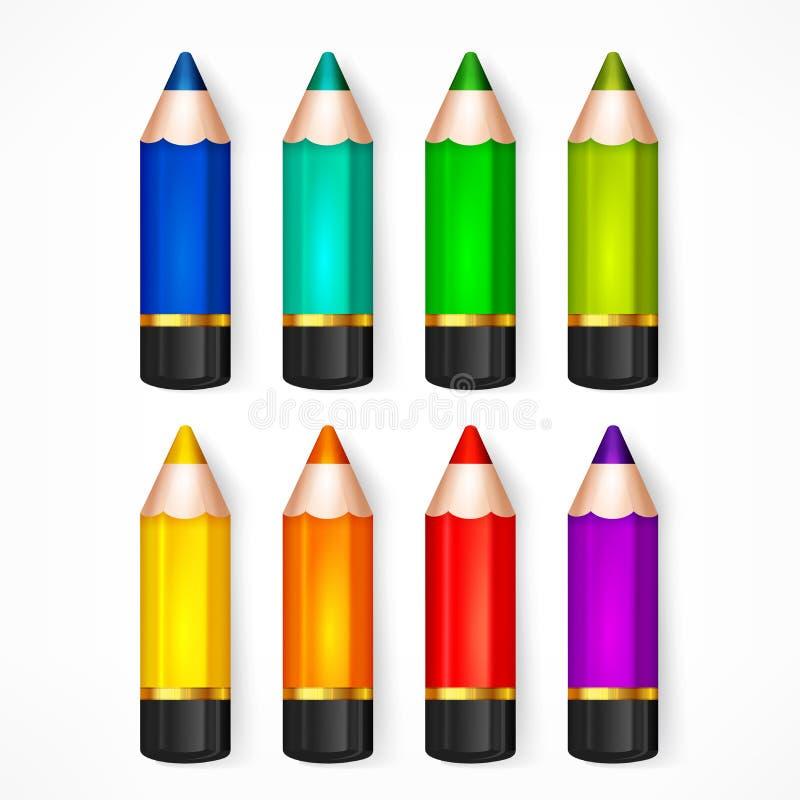 Ilustração ajustada do vetor da cor do lápis ilustração do vetor