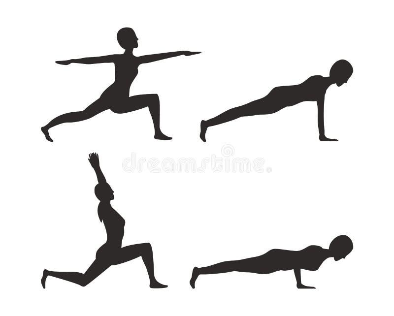 Ilustração ajustada do vetor da silhueta das poses da ioga ilustração royalty free