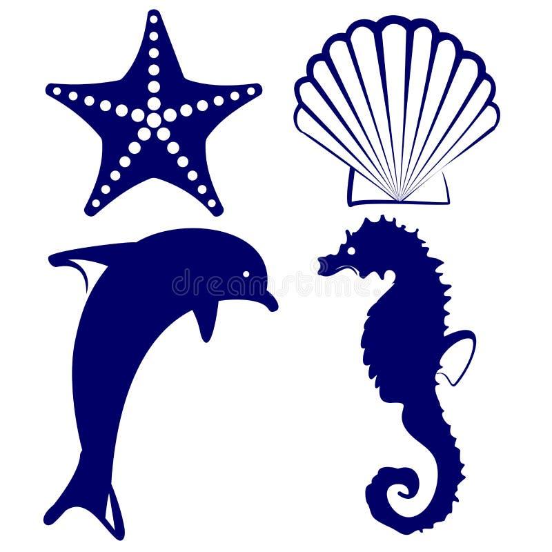 Ilustração ajustada do vetor do ícone dos animais marinhos ilustração royalty free