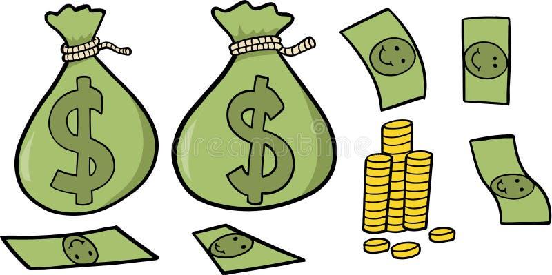 Ilustração ajustada do vetor do dinheiro ilustração stock