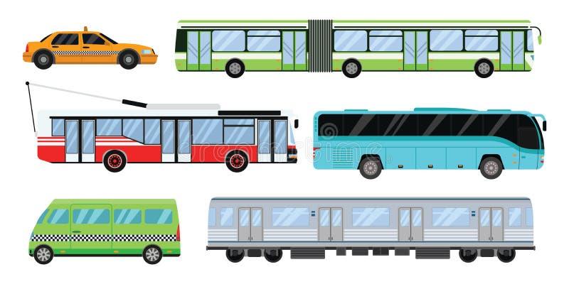 Ilustração ajustada do vetor do transporte da cidade ilustração do vetor