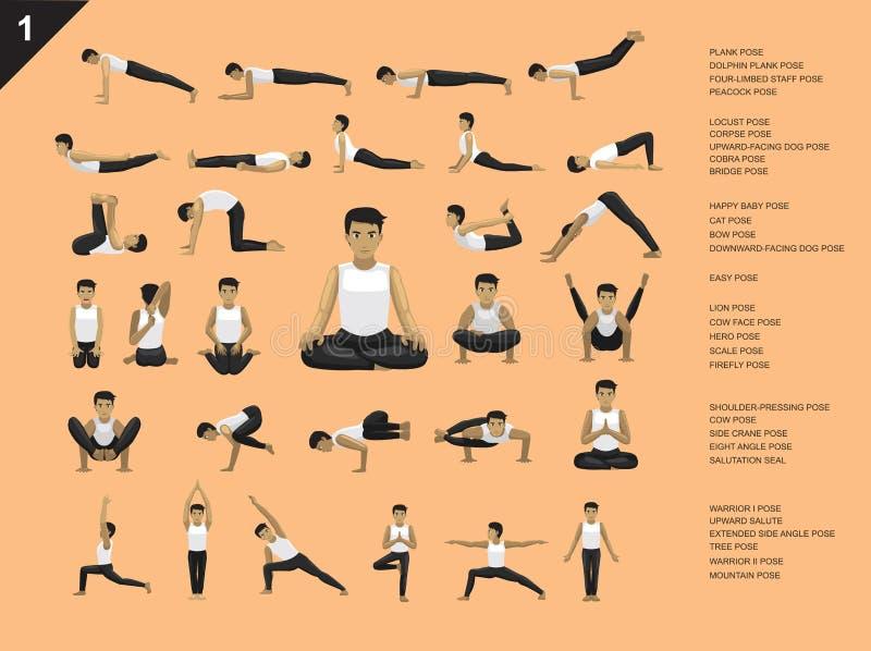Ilustração ajustada do vetor dos desenhos animados de Manga Yoga Man Easy Poses ilustração stock