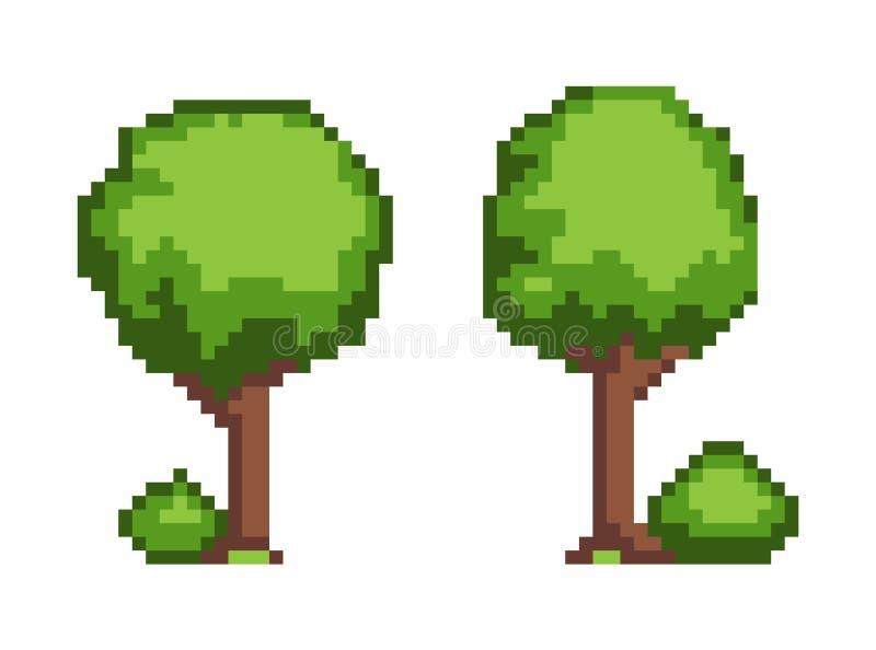 Ilustração ajustada do vetor do objeto da planta do pixel da árvore ilustração stock