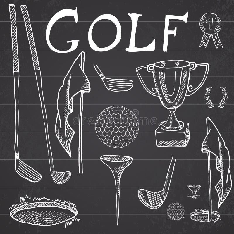 A ilustração ajustada tirada mão do vetor do esboço do esporte do golfe com clubes de golfe, bola, T, furo com bandeira, e copo p ilustração royalty free