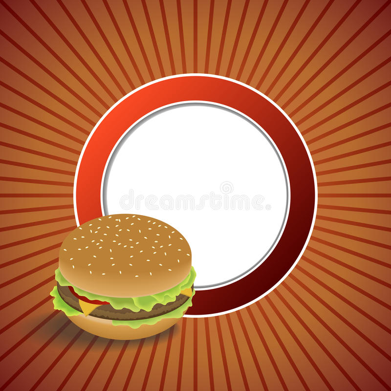 Ilustração alaranjada vermelha do quadro do círculo do Hamburger abstrato do alimento do fundo ilustração royalty free