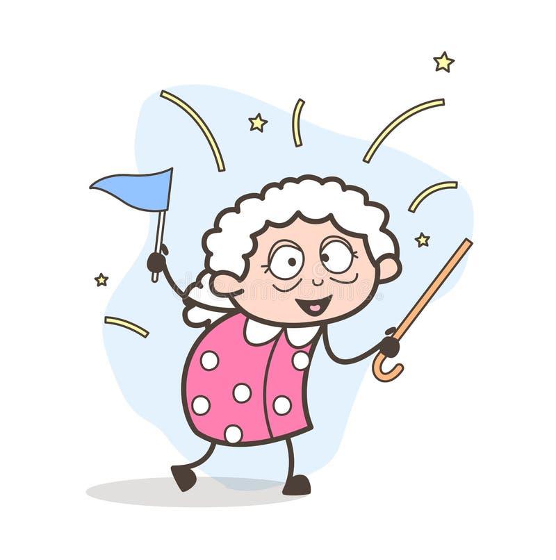 Ilustração alegre do vetor da avó do vencedor dos desenhos animados ilustração royalty free