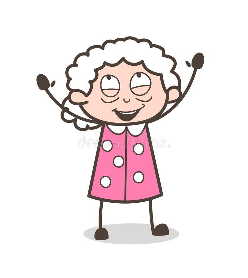 Ilustração alegre do vetor do gesto de mão da avó dos desenhos animados ilustração royalty free