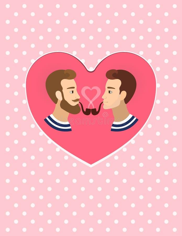 Ilustração alegre dos pares dos homossexuais do cartão do Valentim ilustração do vetor