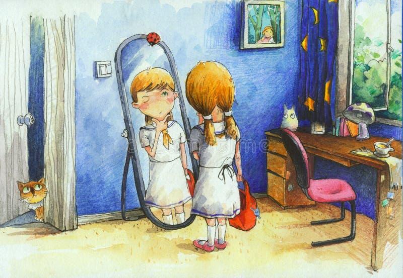 Ilustração alta da definição da aquarela: A menina no espelho Um semestre novo abre, a maravilha da menina se olha boa bastante ilustração royalty free