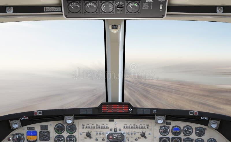 69 ilustração alta do detalhe 3d do megapixel da cabina do piloto do avião, voando rapidamente acima de uma cidade, cena do conte fotos de stock royalty free
