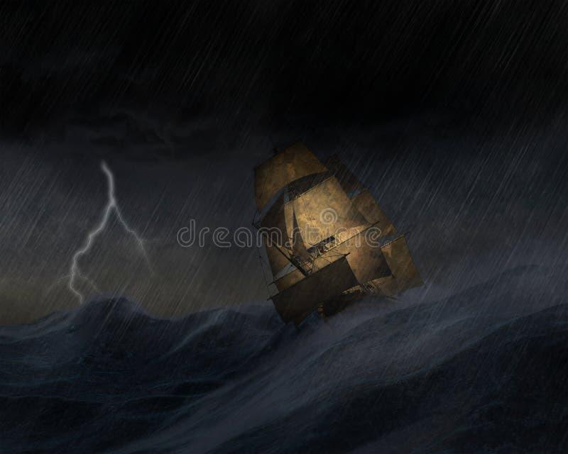 Ilustração alta do mar de tempestade do navio de navigação ilustração do vetor