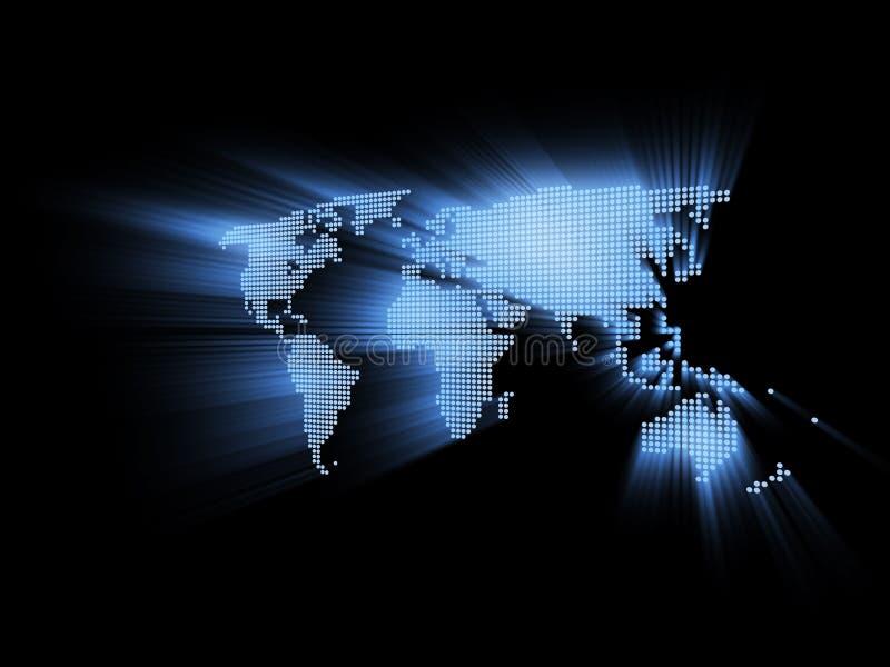 Ilustração alta tecnologia de incandescência do mapa de mundo 3d ilustração stock