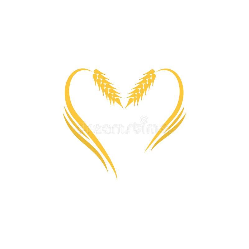Ilustração amarela abstrata do molde do logotipo do trigo ilustração royalty free