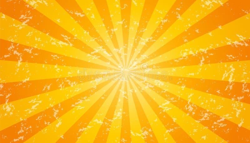 Ilustração amarela, alaranjada e branca do fundo Sunburst resistido da textura - do vetor ilustração royalty free