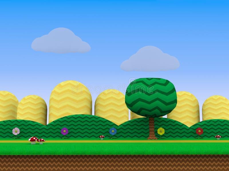 Ilustração amarela do fundo 3D do jogo de vídeo da plataforma dos montes ilustração do vetor