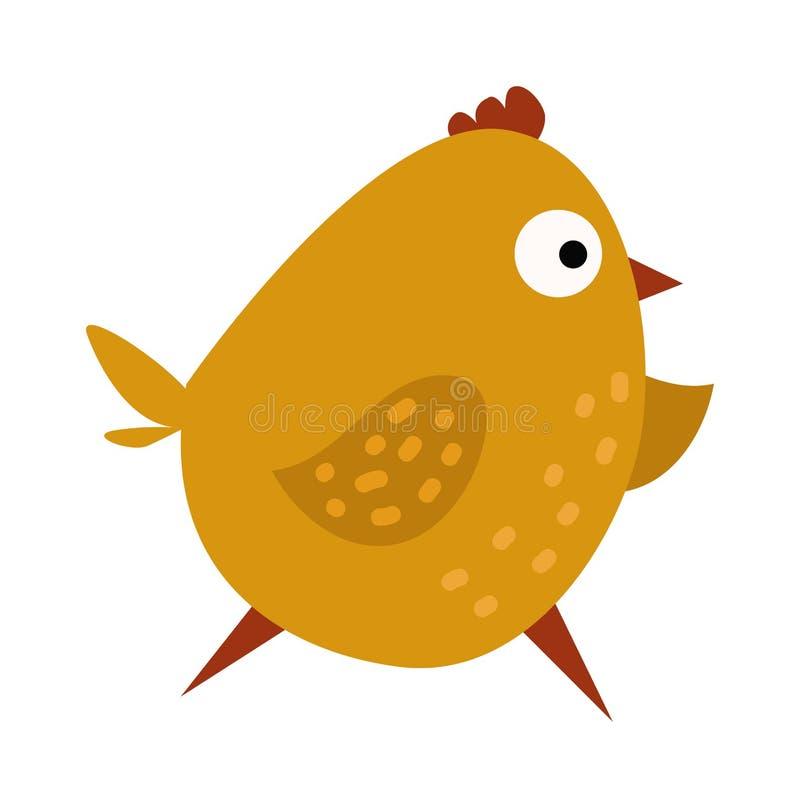 Ilustração amarela running de ondulação do vetor do pássaro da exploração agrícola dos desenhos animados bonitos da galinha ilustração do vetor