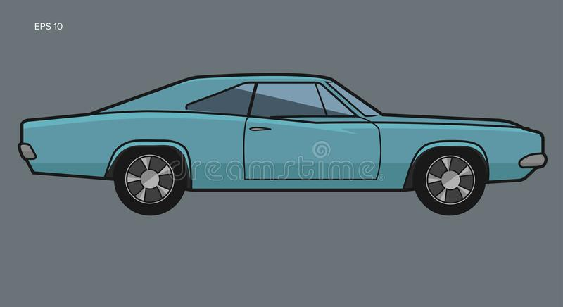 Ilustração americana clássica do vetor do carro do músculo ilustração do vetor