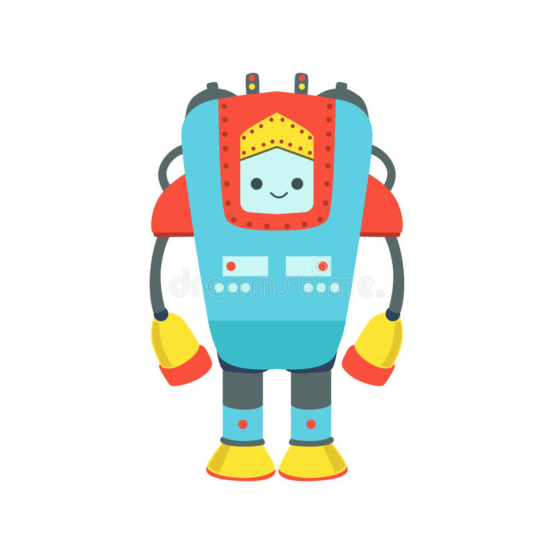Ilustração amigável gigante azul e vermelha dos desenhos animados do vetor do caráter do robô de Android ilustração stock