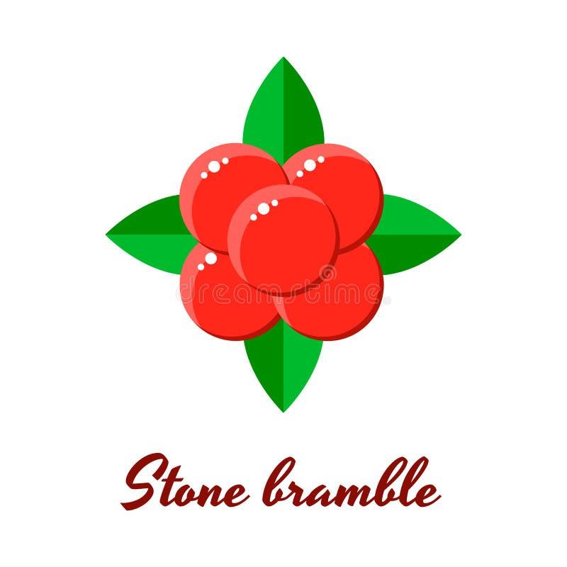Ilustração, amora de pedra, bagas vermelhas da floresta ilustração royalty free
