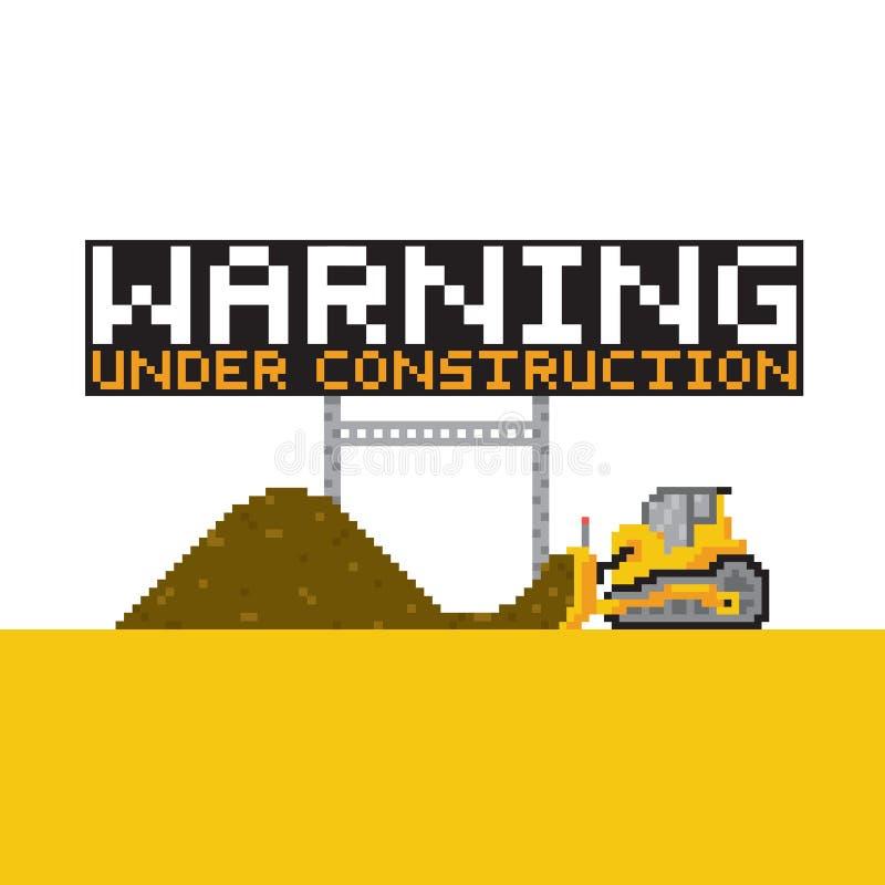 Ilustração anded aviso da construção do estilo da arte do pixel ilustração royalty free