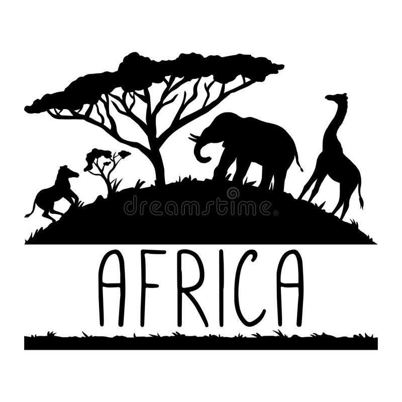 Ilustração, animais e acácia de África ilustração do vetor