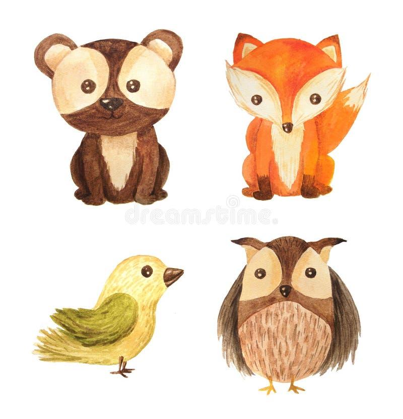 Ilustração animal das crianças da floresta da aquarela ilustração do vetor