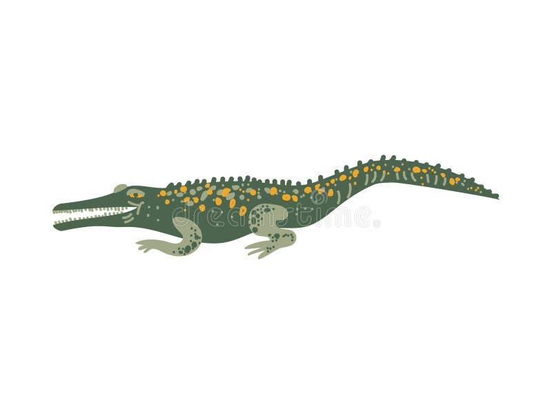 Ilustração animal do vetor do réptil exótico selvagem do crocodilo ilustração royalty free