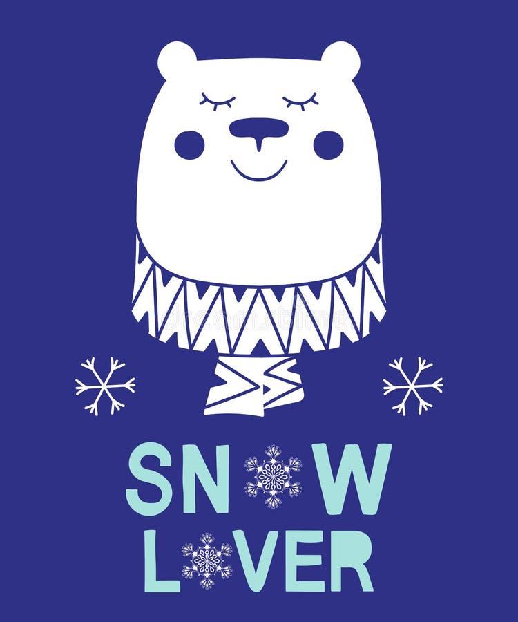 A ilustração animal do vetor do urso do slogan do amante da neve para crianças do Natal da forma imprime ilustração royalty free