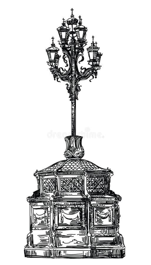 Ilustração antiga do vetor da lanterna ilustração stock