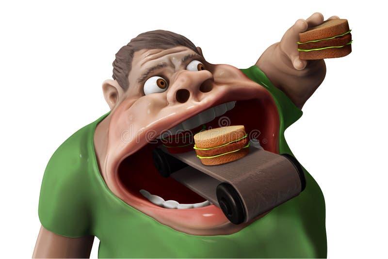 Ilustração antropófaga com fome gorda dos Hamburger 3d ilustração stock