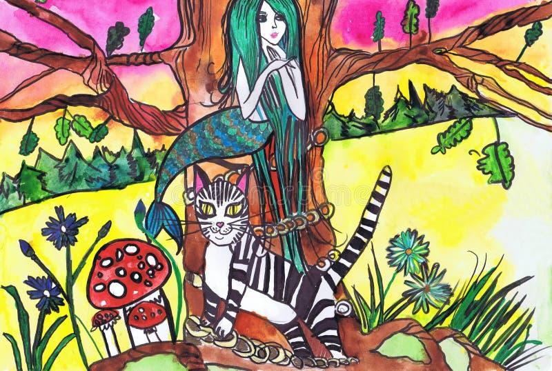 Ilustração ao poema por A S Ilustração de Pushkin ao poema por A S Pushkin 'em um litoral curvado um verde do carvalho ` Crian?as ilustração stock