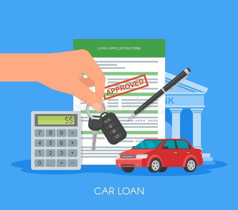 Ilustração aprovada do vetor do empréstimo automóvel Conceito de compra do automóvel Mão que guardara a chave ilustração do vetor