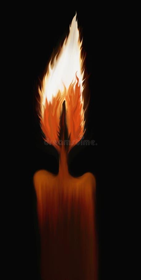 Ilustração ardente desenhada mão da vela ilustração do vetor