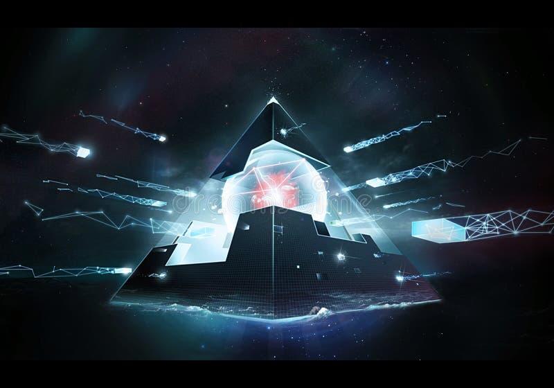 Ilustração artística abstrata da rendição 3d de uma arte finala energética estrangeira poderosa da pirâmide ilustração stock