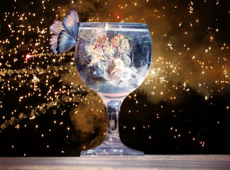 Ilustração artística da rendição 3d de uma borboleta em um copo de água em uma arte finala original fotos de stock
