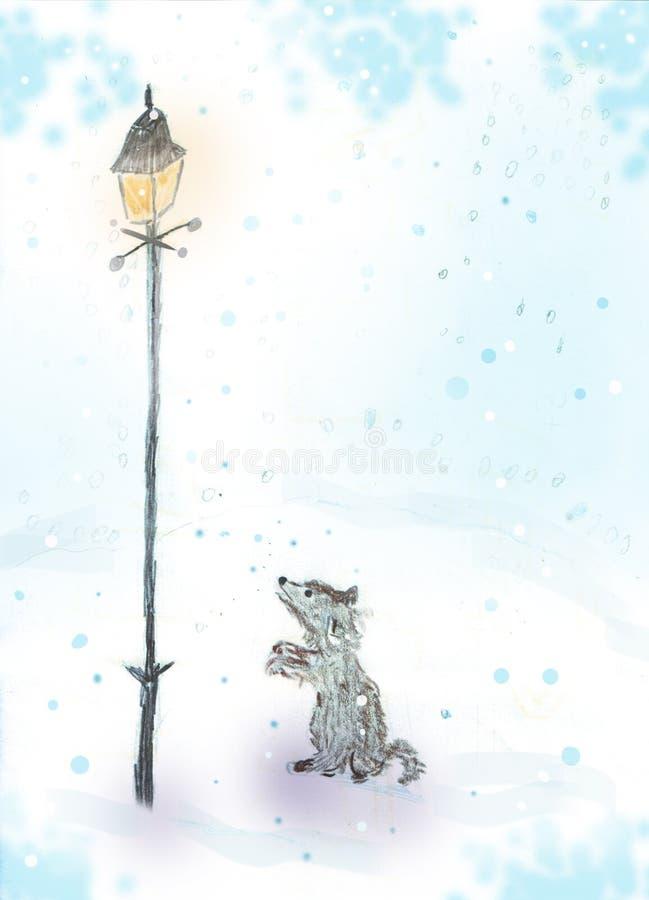 Ilustração artística de um cão pequeno perto da lâmpada da cidade sob a neve ilustração royalty free