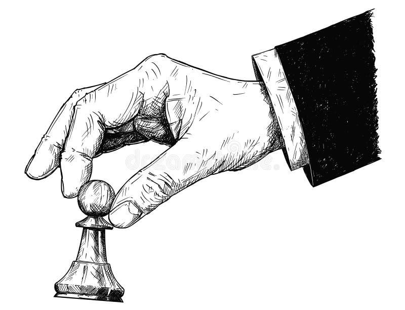 Ilustração artística do desenho do vetor da mão que guarda a figura do penhor da xadrez ilustração do vetor