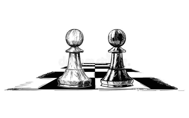 Ilustração artística do desenho do vetor de dois penhores da xadrez que enfrentam-se ilustração royalty free