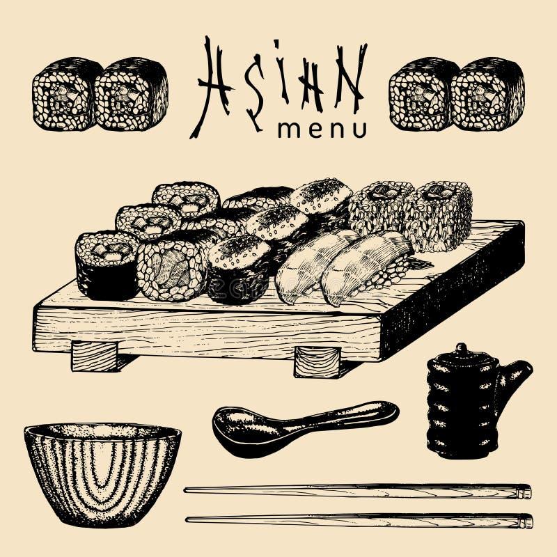 Ilustração asiática tirada mão do menu do vetor Grupo esboçado mão do sushi Alimento japonês, projeto dos utensílios de mesa para ilustração do vetor