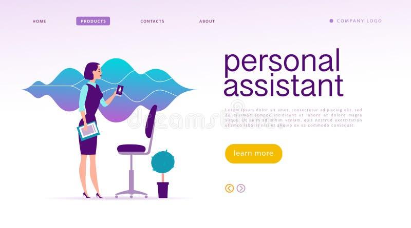 Ilustração assistente em linha horizontalmente pessoal do vetor Projeto da página da aterrissagem ilustração royalty free