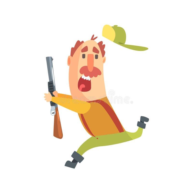 Ilustração assustado ausente criançola engraçada do vetor dos desenhos animados de Hunter Character With Moustache Running ilustração stock